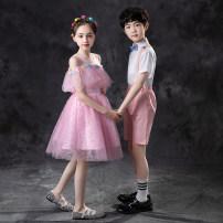 Children's performance clothes Women's pink with headdress men's Pink five piece set female 100cm 110cm 120cm 130cm 140cm 150cm 160cm 170cm Bai Beifu BBF-106 other Summer 2021