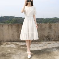 Dress Summer 2021 White, purple S,M,L Miniskirt singleton  Short sleeve Sweet square neck Elastic waist Solid color Socket A-line skirt routine Others 18-24 years old Type A Embroidery 71% (inclusive) - 80% (inclusive) other other college