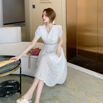 Dress Summer 2021 white S,M,L,XL Miniskirt singleton  Long sleeves V-neck middle-waisted A-line skirt puff sleeve 916 [real shot stock] Lace