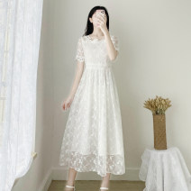 Dress Summer 2021 White short sleeves, white quarter sleeves S,M,L,XL longuette singleton  Short sleeve Sweet square neck High waist Solid color zipper Big swing routine Others 18-24 years old Type A Gouhua hollow 8003A 51% (inclusive) - 70% (inclusive) Lace other college