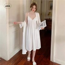 Pajamas / housewear set female gelato pique M. L, XL, one size fits all White, black cotton Short sleeve Sweet pajamas spring Thin money V-neck Solid color trousers Socket youth 2 pieces More than 95% pure cotton longuette