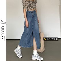 skirt Summer 2021 S M L XS Denim blue Mid length dress commute High waist A-line skirt Type A 18-24 years old 3036# More than 95% other Zhuoxin other Korean version Other 100% Pure e-commerce (online only)