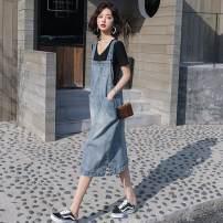 Dress Summer 2020 Light blue [thin], dark blue [thin] S,M,L,XL,XXL longuette singleton  Sleeveless other other other other other straps straps other other