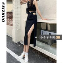 skirt Summer 2021 XS S M L Black (priority for additional purchase) blue (priority for additional purchase) Mid length dress commute High waist A-line skirt Solid color Type A 18-24 years old 8027#-2 More than 95% Si Zhuo other Korean version Other 100% Pure e-commerce (online only)