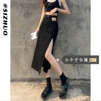skirt Summer 2021 XS S M L Black (priority for additional purchase) Mid length dress Versatile High waist Denim skirt Solid color Type A 18-24 years old five thousand two hundred and twelve - two More than 95% Si Zhuo other Other 100%