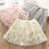 skirt 100cm,120cm,110cm,130cm,90cm Gray, pink, blue, off white, yellow Other / other female Other 100% spring and autumn skirt Korean version flower Princess Dress polyester Class B