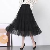 skirt Spring 2021 S waistline 1-9-2, m waistline 2-2-1, l waistline 2-1-2-2, XL waistline 2-2-3, 2XL waistline 2-3-2-4, 3XL waistline 2-4-2-5 Black, apricot longuette commute High waist Cake skirt Solid color ZF8925 Other / other Nail bead, yarn net Korean version