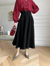 skirt Spring 2021 S,M,L White, black Mid length dress commute High waist A-line skirt Solid color Type A 25-29 years old Retro