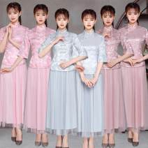 Dress / evening wear Wedding, adulthood, party, company annual meeting, performance, routine, appointment XXL,S,M,L,XL Smoke gray 001 ා, smoke gray 002 #, bean paste color 001 #, bean paste color 002 #, pink 001 #, pink 002 ## Retro Medium length middle-waisted Summer of 2019 stand collar zipper
