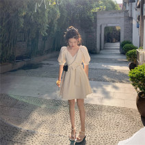 Dress Summer 2021 White, black S,M,L,XL Short skirt singleton  Short sleeve commute V-neck High waist Solid color Socket A-line skirt puff sleeve 18-24 years old Type A Korean version