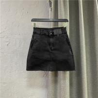 skirt Summer 2021 S,M,L,XL black Short skirt commute High waist Denim skirt Solid color Type A 25-29 years old More than 95% Denim Ocnltiy cotton Pockets, zippers, buttons Korean version