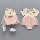 Jumpsuit / climbing suit / Khaki Tong Shi Class A female Off white 59cm,66cm,73cm,80cm,90cm other summer Short sleeve Trigonometry princess There are models in the real shooting nothing Cotton 95% polyester 5% Socket Freshmen, 12 months, 3 months, 9 months, 6 months Chinese Mainland