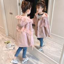 Plain coat Other / other female 110cm,120cm,130cm,140cm,150cm,160cm,170cm Apricot, pink spring and autumn There are models in the real shooting No detachable cap cotton