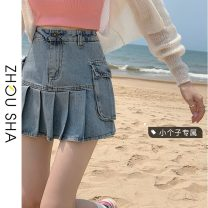skirt Summer 2021 S M L XS Denim blue black grey Short skirt commute High waist Pleated skirt Solid color Type A 18-24 years old More than 95% Zhesha other Pocket fold Korean version Other 100% Pure e-commerce (online only)