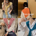 Scarf / silk scarf / Shawl Rayon Baby blue ice thin, orange ice thin, water green ice thin, milk yellow ice thin, coco milk tea ice thin, water rose powder ice thin, turquoise blue ice thin, little black ice thin spring and autumn female Shawl multi-function Korean version other student Solid color