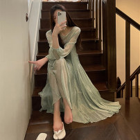 Dress Spring 2021 Green floral skirt + sling S M L XL longuette singleton  Long sleeves commute Crew neck High waist Solid color Socket A-line skirt routine Others 18-24 years old Duoshan Korean version Frenulum D3N9194 More than 95% Chiffon other Other 100% Pure e-commerce (online only)