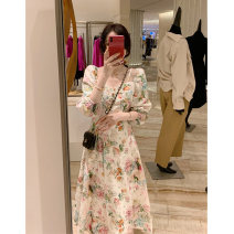 Dress Spring 2021 Floral Dress S M L XL longuette singleton  Long sleeves commute V-neck High waist Decor Socket A-line skirt routine Others 25-29 years old Duoshan Retro printing D2N2703 More than 95% Chiffon other Other 100% Pure e-commerce (online only)