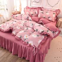 Bedding Set / four piece set / multi piece set cotton Quilting Plants and flowers 133x72 Other / other cotton 4 pieces 60 Bed sheet, bed skirt Qualified products Princess style 95% (inclusive) - 100% (exclusive) cotton twill Reactive Print  EC48AD060 Thermal storage