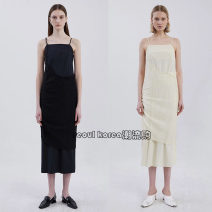 Dress Spring 2021 Black, white ivory A1,A2 Mid length dress Fake two pieces Sleeveless commute other Elastic waist Solid color other Irregular skirt other camisole Type A ADER ERROR Simplicity Pleating 30% and below other cotton