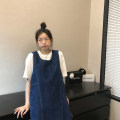 Dress Spring 2021 Middle-skirt singleton  Sleeveless commute Crew neck Loose waist Solid color Condom A-line skirt routine 18-24 years old Type H Korean version Bandage L2285S11 91% (inclusive) - 95% (inclusive) Denim cotton XS,S,M,L