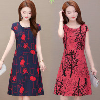 Middle aged and old women's wear Summer 2021 XL,2XL,3XL,4XL,5XL,6XL leisure time Dress Self cultivation singleton  Decor 50-59 years old Socket thin Crew neck routine LYQ8851 Huili belt Polyester, others 96% and above Middle-skirt pure cotton other
