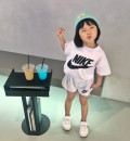 suit Monikehan / monek Korea Pink short sleeve, white short sleeve, black short sleeve, pink sleeveless, White Sleeveless, black sleeveless S,M,L,XL female summer leisure time Short sleeve + pants 2 pieces Thin money There are models in the real shooting Socket nothing Solid color cotton children
