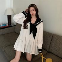 Women's large Autumn 2020 Black, white S,M,L,XL,2XL,3XL,4XL Dress singleton  commute easy Socket Long sleeves Korean version Admiral 18-24 years old Medium length