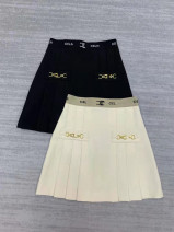 skirt Spring 2021 S,M,L,XL White, black Short skirt Versatile High waist Pleated skirt Solid color Type A More than 95% other other Zipper, fold