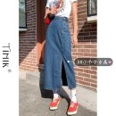 skirt Summer 2021 XS S M L Dark blue light blue Mid length dress commute High waist A-line skirt Solid color Type A 18-24 years old More than 95% tIHIk other Korean version Other 100%