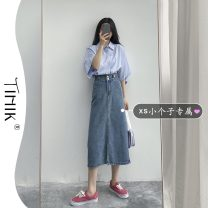 skirt Summer 2021 XS S M L Picture color Mid length dress commute High waist A-line skirt Solid color Type A 18-24 years old More than 95% other tIHIk other Korean version Other 100%