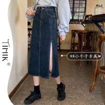 skirt Summer 2021 S M L XS navy blue Mid length dress Versatile High waist Denim skirt Type A 18-24 years old More than 95% Denim tIHIk other Other 100%