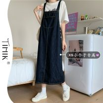 Dress Summer 2021 blue XS S M L Mid length dress singleton  Sleeveless commute square neck High waist Solid color Socket A-line skirt other straps 18-24 years old Type A tIHIk Korean version More than 95% other other Other 100%