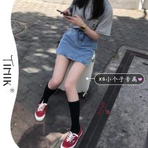 skirt Summer 2021 XS S M L wathet Short skirt commute High waist A-line skirt Solid color Type A 18-24 years old More than 95% tIHIk other Korean version Other 100%