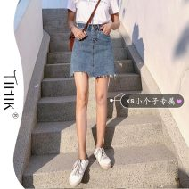 skirt Summer 2021 S M L XS blue Short skirt commute High waist A-line skirt Solid color Type A 18-24 years old More than 95% Denim tIHIk other Asymmetric ageing Korean version Other 100%