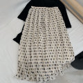 skirt Summer 2021 M Off white longuette Retro Natural waist Pleated skirt Dot Type H 18-24 years old Chiffon Other / other other