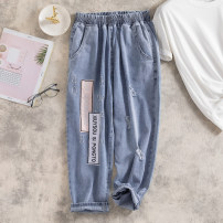 Women's large Summer 2021 M [recommended 80-100 Jin], l [recommended 100-120 Jin], XL [120-140 Jin], 2XL [140-160 Jin recommended], 3XL [160-180 Jin recommended], 4XL [180-200 Jin recommended] Jeans singleton  commute easy moderate Korean version Denim, cotton Hand abrasion Ocnltiy Embroidery