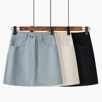 skirt Summer 2021 S,M,L Black, haze blue, light apricot Short skirt commute High waist A-line skirt Solid color Type A 18-24 years old 51% (inclusive) - 70% (inclusive) Denim Ocnltiy other pocket Korean version
