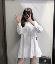 Dress Other White, blue XS,S,M,L Long sleeves V-neck Solid color cotton