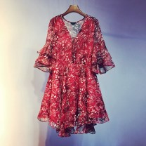 Dress Summer 2021 Red, apricot, off white, black S,M,L,XL Mid length dress singleton  Long sleeves commute V-neck High waist Broken flowers Socket other pagoda sleeve Others 18-24 years old Type A Ocnltiy Korean version Splicing More than 95% other other