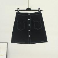 skirt Summer 2021 S,M,L,XL black Short skirt Versatile High waist Denim skirt Solid color Type A 18-24 years old More than 95% Denim Ocnltiy other Button, thread decoration