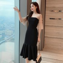 Women's large Summer 2020 Picture color S M L XL Dress singleton  commute Solid color lady square neck other Polygonatum 25-29 years old longuette Other 100% Pure e-commerce (online only) Ruffle Skirt