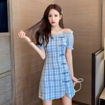 Women's large Summer 2021 Purple blue S M L XL Dress singleton  commute Short sleeve Retro One word collar have cash less than that is registered in the accounts puff sleeve seven thousand and twenty-nine # goods in stock Polygonatum 18-24 years old Short skirt Other 100% other zipper