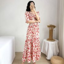 Women's large Summer 2021 Decor L XL S M Dress singleton  commute Socket Short sleeve Decor Retro V-neck other puff sleeve Polygonatum 25-29 years old Button 96% and above longuette Other 100% Pure e-commerce (online only) zipper
