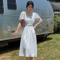 Dress Summer 2021 white S M L XL 2XL longuette singleton  Short sleeve commute square neck High waist Solid color Socket A-line skirt routine Others 18-24 years old Type X Polygonatum Korean version Tie button More than 95% Chiffon other Other 100% Pure e-commerce (online only)