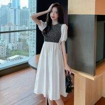 Dress Summer 2021 White apricot S M L XL Mid length dress singleton  Long sleeves commute Crew neck High waist Solid color Socket A-line skirt puff sleeve Others 18-24 years old Type A Polygonatum Korean version Splicing fold 3112# More than 95% other other Other 100% Pure e-commerce (online only)