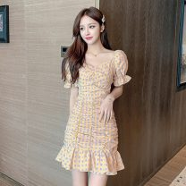 Women's large Summer 2021 Picture color L XL S M Dress singleton  commute Short sleeve Korean version V-neck have cash less than that is registered in the accounts other routine Polygonatum 18-24 years old fungus 96% and above Short skirt Other 100% Ruffle Skirt zipper
