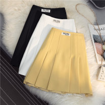 skirt Summer 2021 S M L XL Yellow white black Short skirt Versatile High waist Pleated skirt Solid color Type A 18-24 years old More than 95% other SHMO other fold Other 100% 121g / m ^ 2 (including) - 140g / m ^ 2 (including)