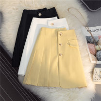 skirt Summer 2021 S M L XL Yellow white black Short skirt Versatile High waist A-line skirt Solid color Type A 25-29 years old More than 95% other SHMO other fold Other 100% 121g / m ^ 2 (including) - 140g / m ^ 2 (including)