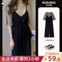 Women's large Winter 2016 Grey Top + black pants, khaki Top + black pants, white top + black pants T-shirt Two piece set Sweet easy moderate Socket elbow sleeve Solid color V-neck routine puff sleeve 3-2X3519-C-3 Soudorya / sudoya 18-24 years old longuette Cropped Trousers college