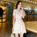 Dress Summer 2021 BEIGE BLACK S M L XL Short skirt singleton  Short sleeve Sweet V-neck High waist Decor Socket A-line skirt routine 25-29 years old Type A Love to printing W26Q5363 More than 95% Chiffon polyester fiber Polyester 100% Pure e-commerce (online only)
